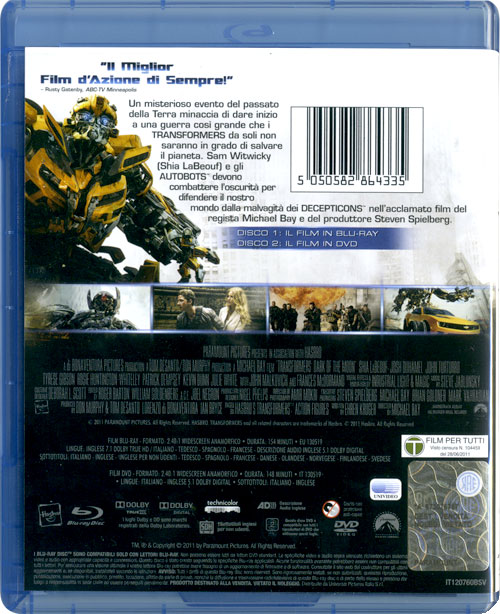 Transformers 3 en blu-ray (contraportada)